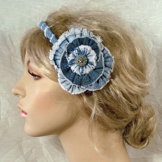 denim flowers on a headband are so cute for all ages!