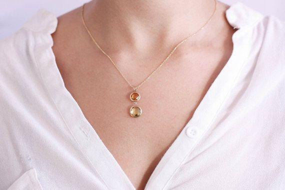 Gemstone Necklace Gold Gemstone Necklace Citrine Necklace