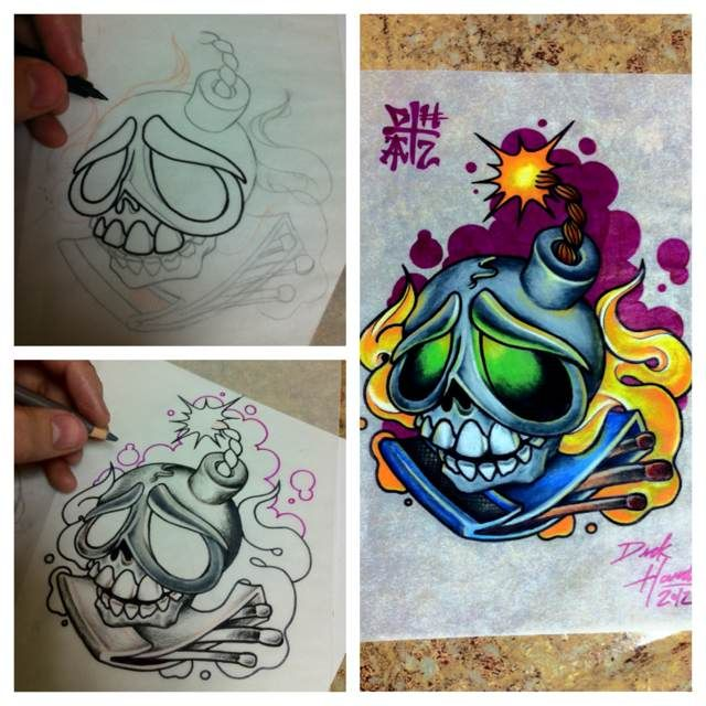 19 best new school skull tattoo designs drawings images on for Tattoo school listings