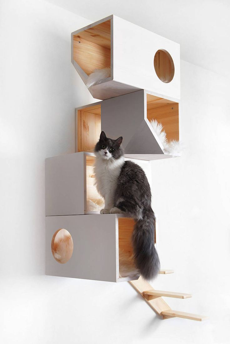 Geometrical Wooden Cat Tree
