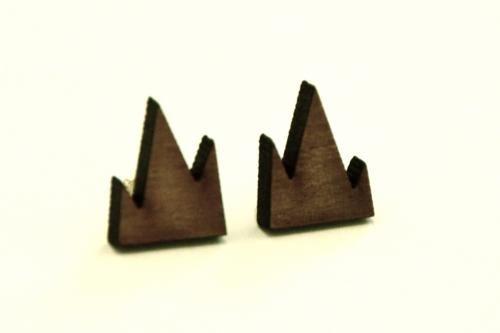 Wooden earrings - R/H mini mountain earrings