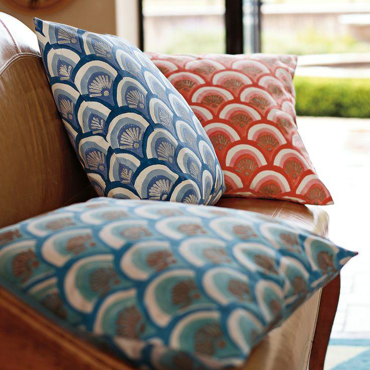 Indigo Kyoto Block Print Pillow | Serena & Lily | Pillows ...
