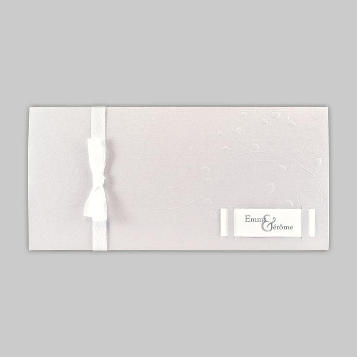 faire part de mariage gris style pochette avec ruban blanc faire part de mariage gris. Black Bedroom Furniture Sets. Home Design Ideas