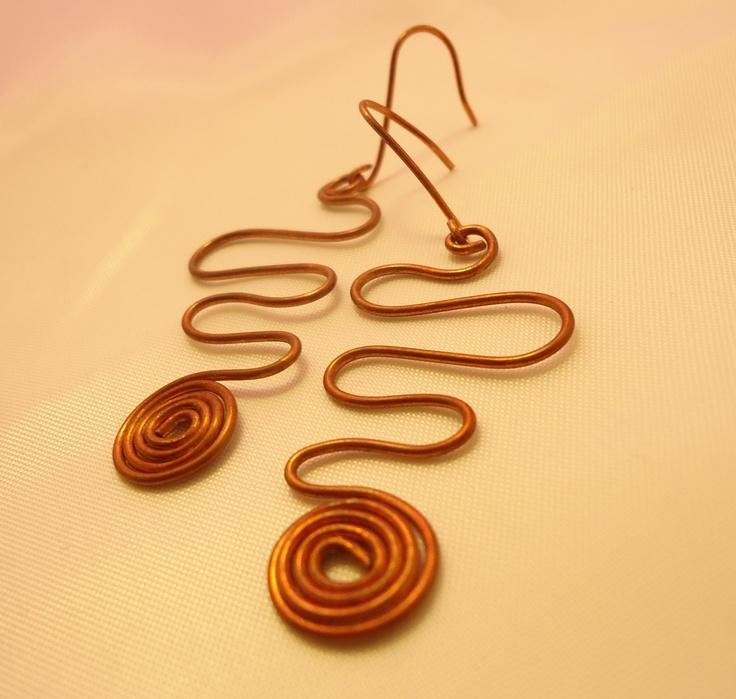 Orecchini handmade in rame con spirale #earrings #accesories