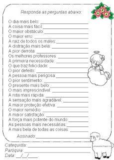 Catequese: ATIVIDADES :ALFABETO DO CATÓLICO 01