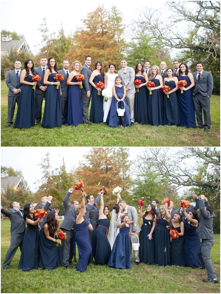 Dallas wedding photographer, bridal party, navy bridesmaid dresses, gray groomsmen suits, orange bouquets, College Station, TX, Mary Fields Photography