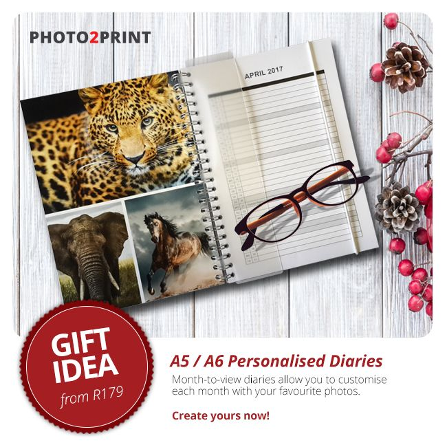 Keep your days organised with this 2017 Diary. Personalise each month with great photographs. #giftidea #photo2print #diaries