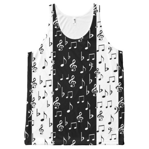 Black & White Musical Stripes Unisex Tank Top All-Over Print Tank Top