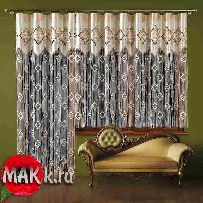 Балконные шторы - Гардина-лапша для балконной двери Ramona А715+А716