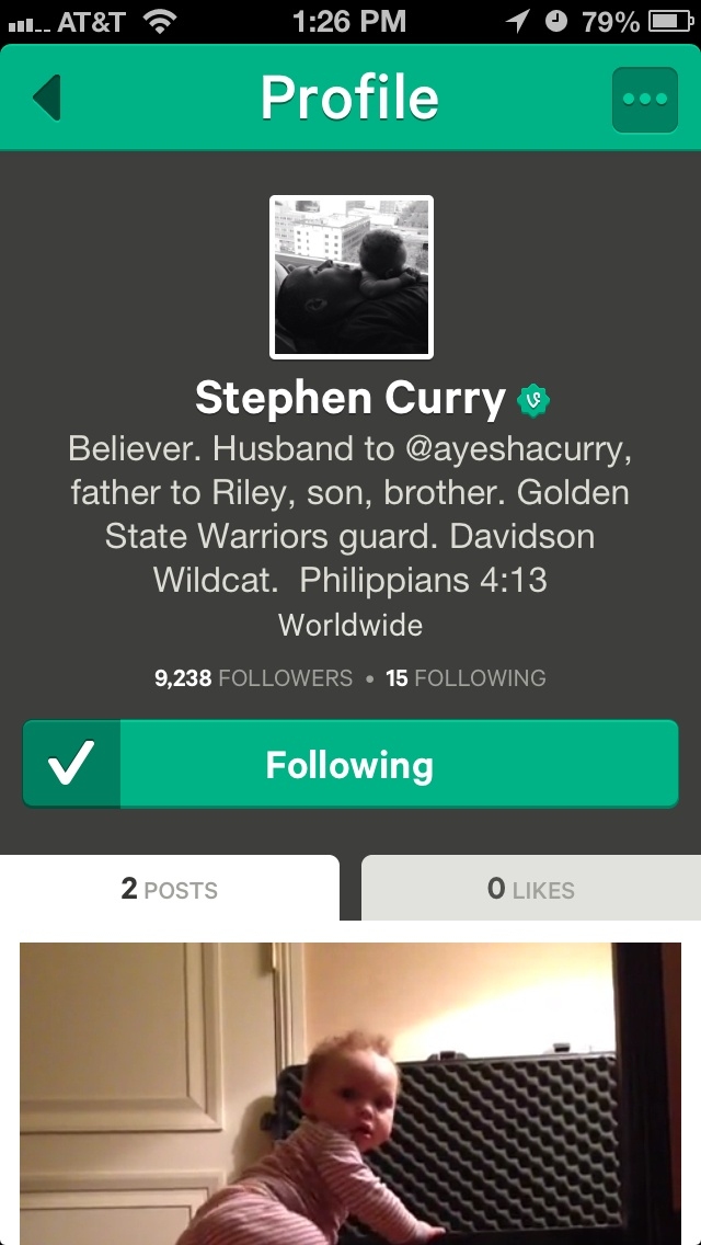 Follow Stephen Curry on Vine! Riley is too cute!!