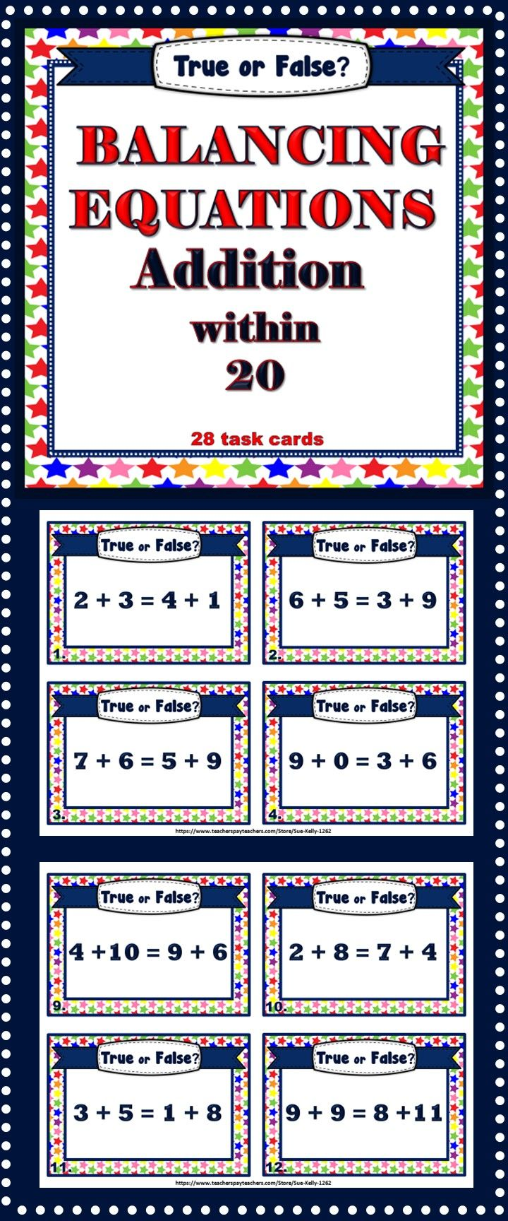Balancing Equations Addition Within 20 Task Cards Balancing Equations Task Cards Equations Balancing equations addition and