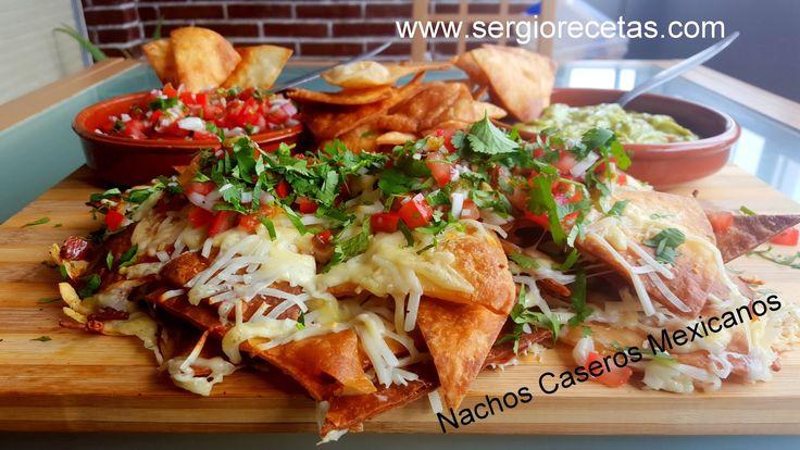 Receta de Nachos Caseros Mexicanos.