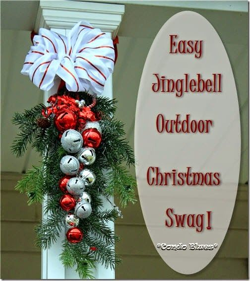 How to make a vertical evergreen and jingle bell outdoor Christmas swag decoration