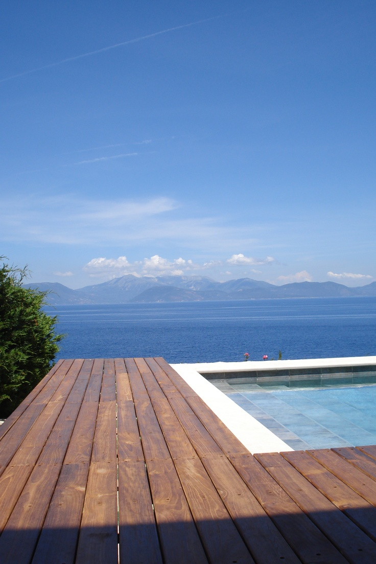View from room 301, double executive with full sea view and a private shared swimming pool among 4 rooms in total