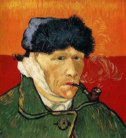 """""""Autorretrato con la oreja cortada y pipa"""" (1889) de Vincent van Gogh"""