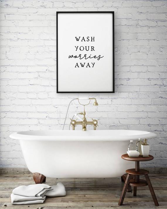 Wash Your Worries Away Bathroom Wall Art Printable Art Etsy Guest Bathroom Decor Bathroom Art Prints Bathroom Prints