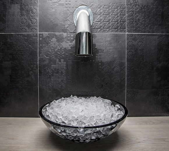 LEMAYMICHAUD | Quebec | Architecture | Interior Design | Spa | Sink | Bathroom | Restroom | Tiling | Faucet