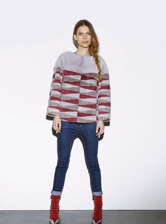 Byte by Giuliana Teso Patterened Mink Fur Jacket