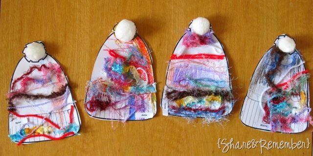 Acogedora proyecto de arte preescolar invierno Sombreros de invierno