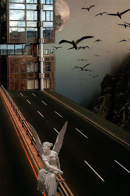 J'attends. Collage papier, 2017. Zophie Zyphon