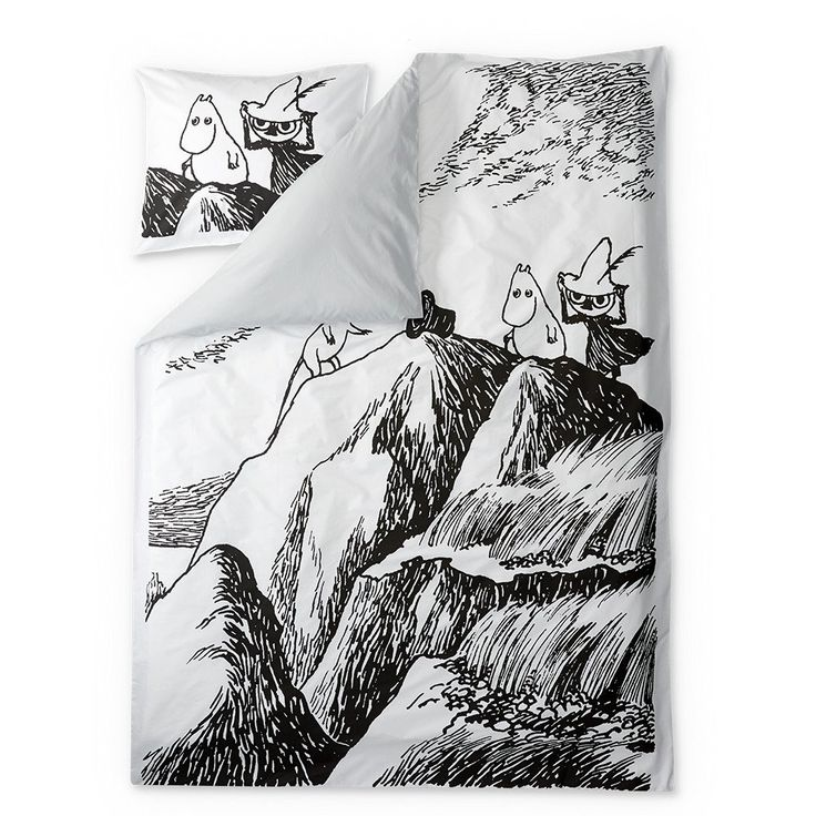 Stylish duvet covers with an image from Tove Jansson's book Finn Family Moomintroll. Beautiful details make this bed linen set a truly great addition to your bedroom. The Finlayson fabric is 100% cotton.Size: Duvet cover 150 x 210 cm