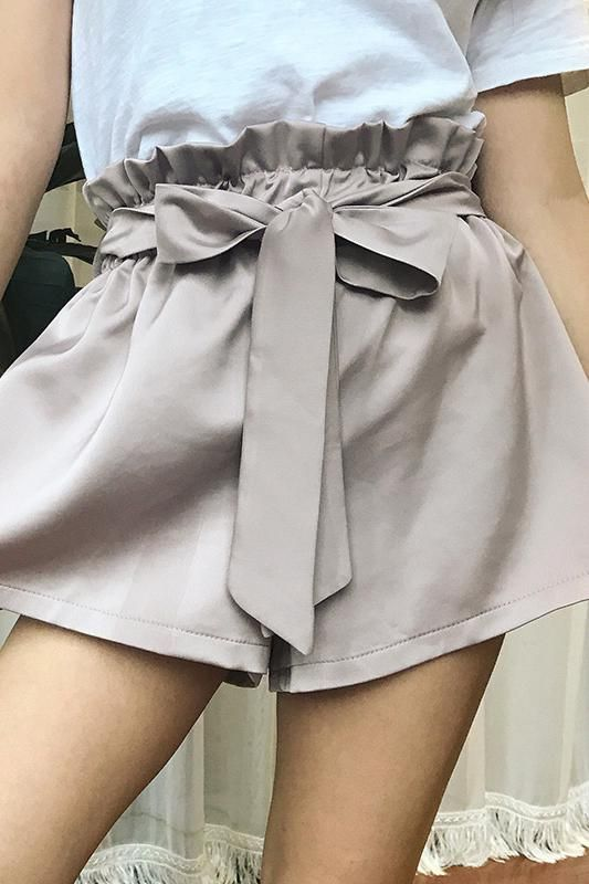 8DESS Ruched Sashes High Waist Shorts Women Solid Color Pocket Shorts