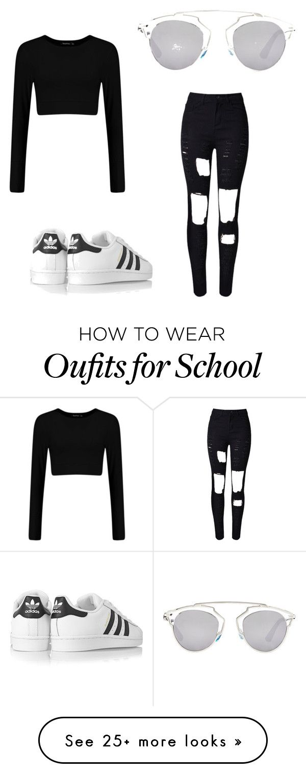 """School Outfits"" by babiigyall on Polyvore featuring mode, adidas Originals, Christian Dior, women's clothing, women, female, woman, misses en juniors"
