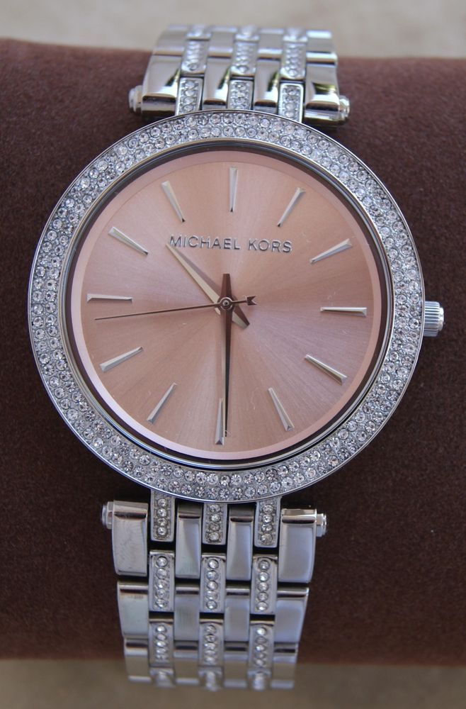 nwt michael kors darci silver glitz rose gold dial womens. Black Bedroom Furniture Sets. Home Design Ideas