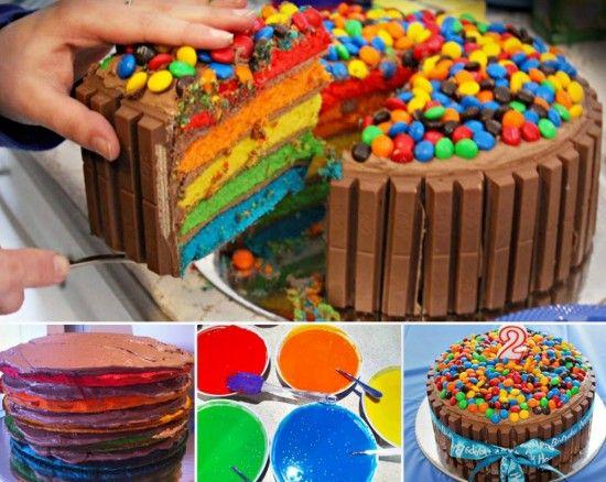 Rainbow Velvet Kit Kat Cake