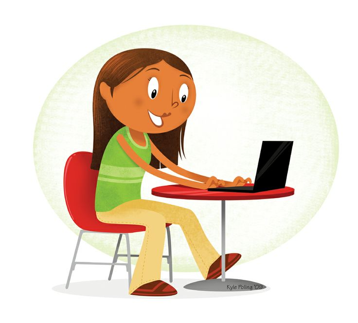 Girl with Laptop. Illustration by Kyle Poling, represented by Liz Sanders Agency. lizsanders.com