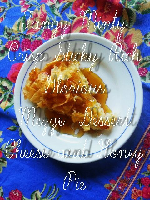 6 ingredients, 20 minutes, perfect for mezze, dessert, dinner with wine. http://www.blog.provocolate.com/2015/08/tangy-minty-crisp-sticky-cheese-and.html