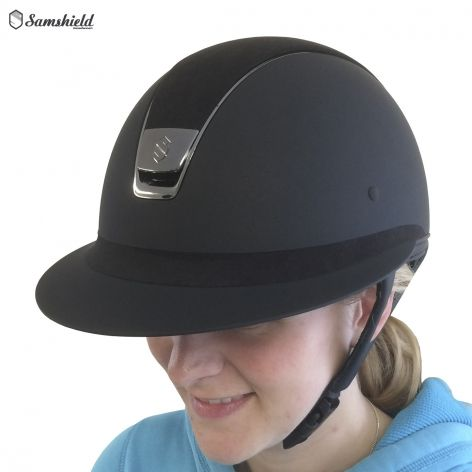 Samshield Miss Shield Black Shadowmatt Riding Hat with Alcantara Top - £304.17. Inspired by classic women's polo helmets, this hat features a longer visor and frontal band for an elegant feminine look in the show jumping arena.