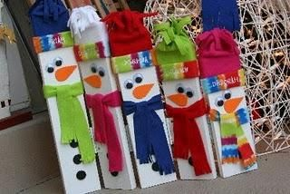 Childmade   snowmen  (use strips of wood, paint stirrers, or tongue depressers, etc. and bits of flannel, cloth from their own clothes) Make a snowman family!