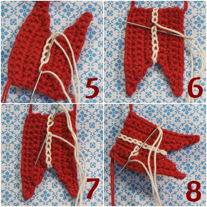 1) Stik nålen i, samtidig hæfter enden. Tråden til et flag skal være ca. 1m 2) Tråden er hæftet og du er klar til første kædesting.  3+4) Be...