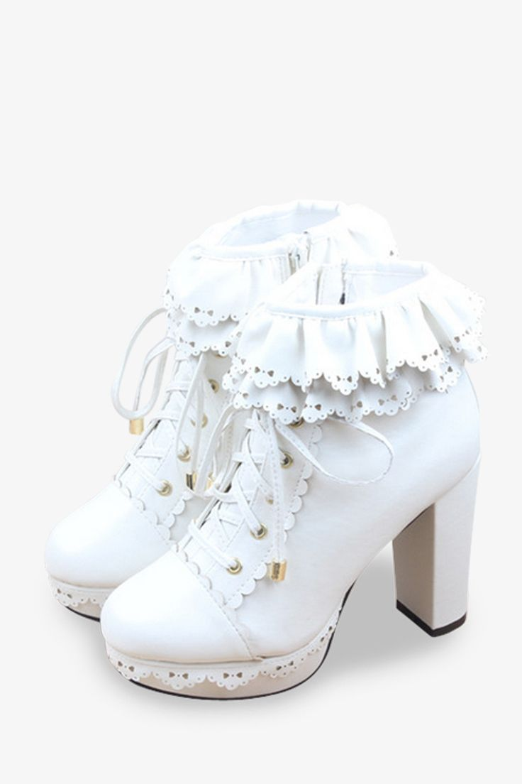 Vintage Frilled Platform Shoes In White