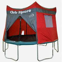 Features:  -Shape: Round.  -Trampoline and enclosure sold separately and are not included with this trampoline treehouse tent.  -Treehouse pattern with night sky roof.  Product Type: -Trampoline Games