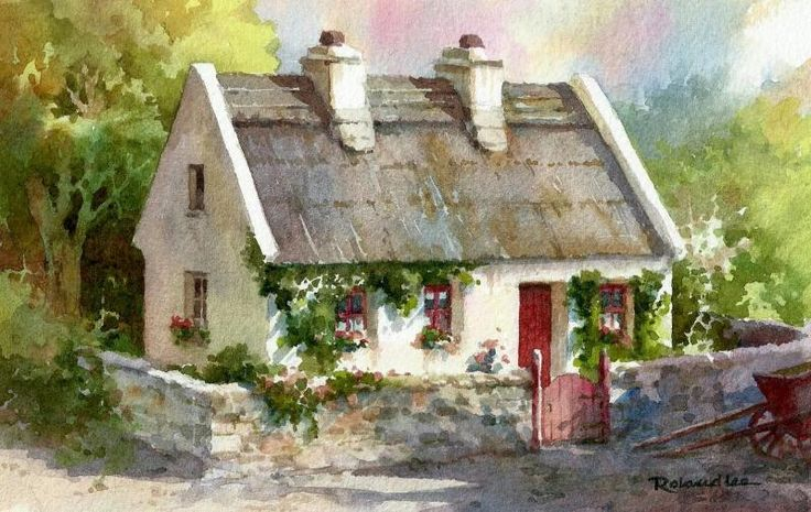 The Red Gate , Watercolor painting of cottage in Ireland - Watercolor Paintings by Roland Lee