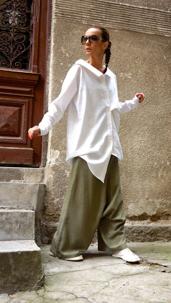 Extravagant flattering loose shirt asymmetrical linen top , so elegant and comfy ... Perfect solution for your everyday outfit:) ...not only... This