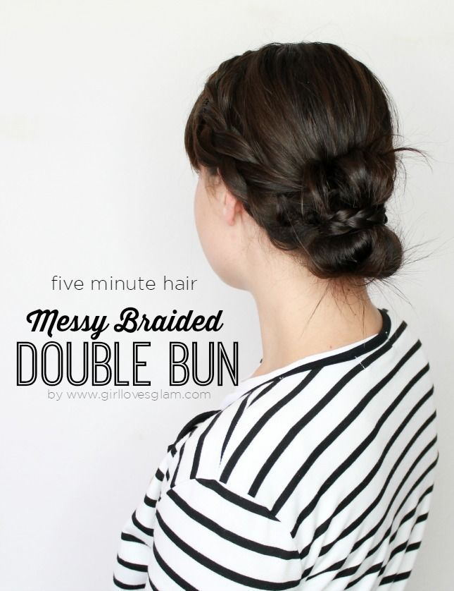 Messy Braided Double Bun: Five Minute Hairstyle