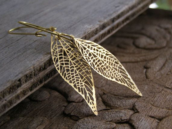 Delicate Golden Leaf Skeleton Drop by MoreThanPrettyThings on Etsy
