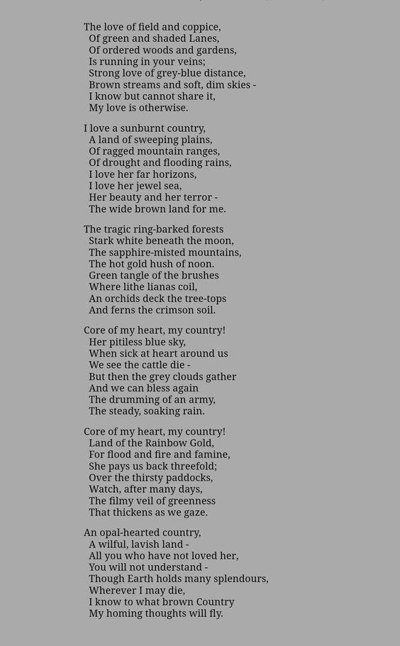 my country dorothea mackellar poem