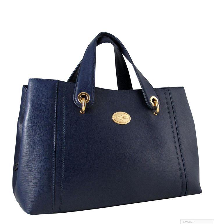 Blue Frenzy Handbag in Italian Leather by Carbotti
