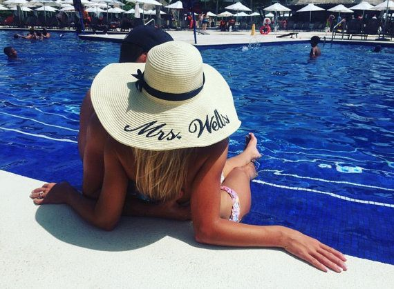 Embroidered Floppy Hat with Custom Sayings- Wide Brim Beach Sun Hat- Personalized