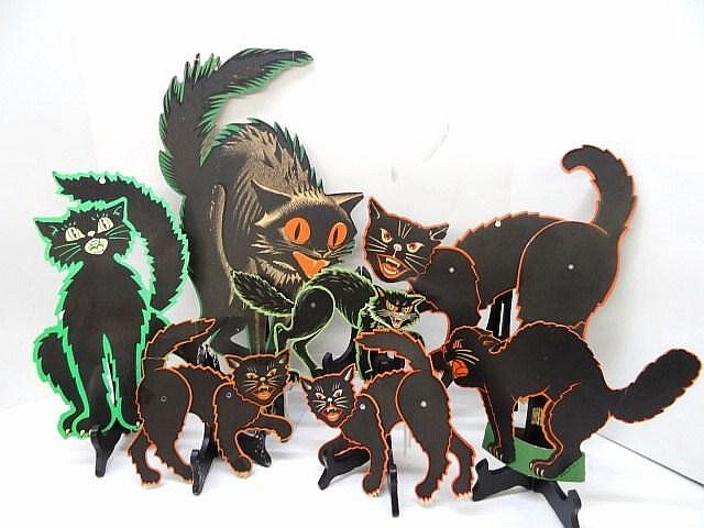 seven vintage cat halloween decorations 21 in - Halloween Cat Decorations