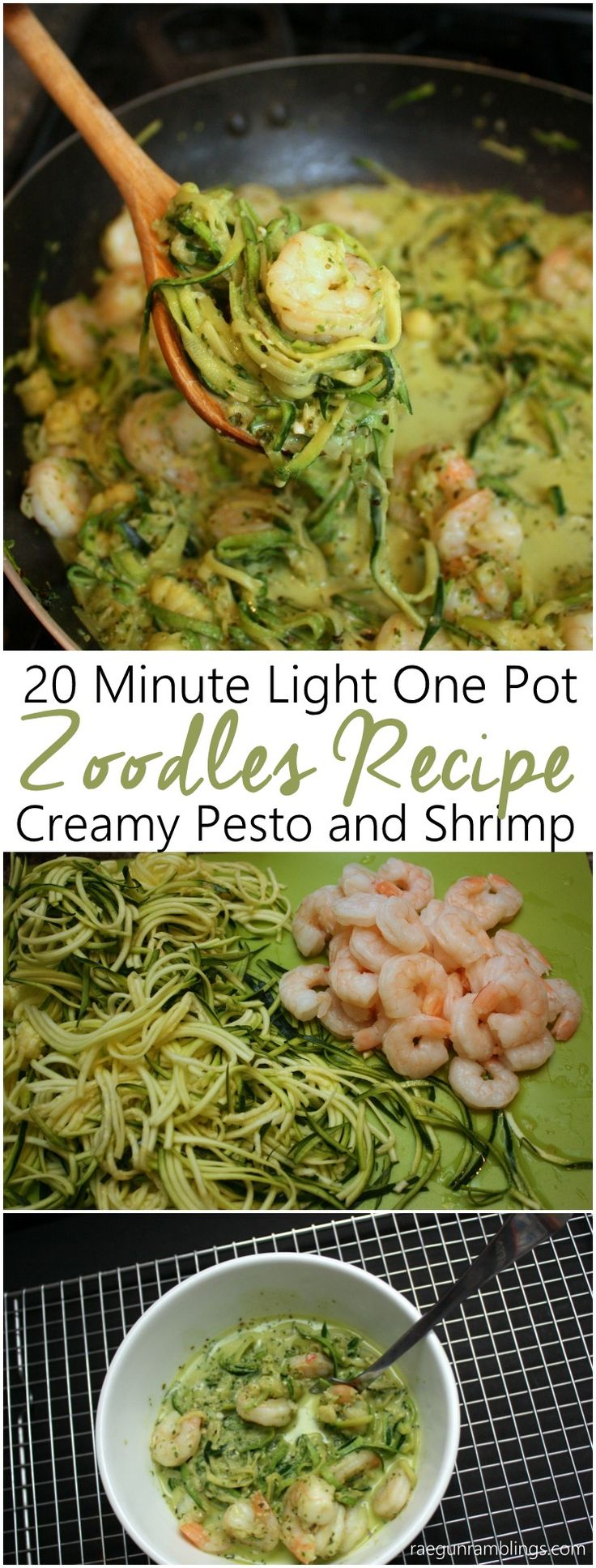 So glad I tried this. Super yummy low calorie and filling zoodle zucchini noodle recipe. With creamy pesto and shrimp sauce. Fast and great for weeknight dinners or lunch