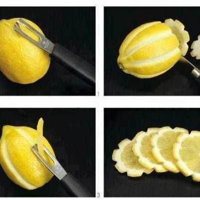 Lovely Lemons – Use a potato peeler to strip the peel off the lemon from top to bottom. Then slice the lemon horizontally and BOOM – you have perfect little lemon flowers.