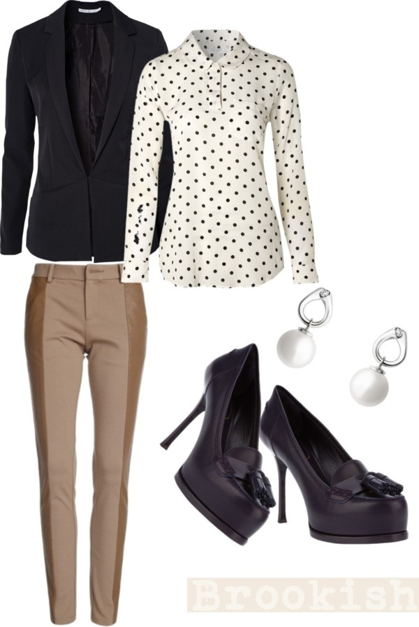 """navy blazer. navy loafer pumps. dots. yessir"" by coveredingrace on Polyvore"