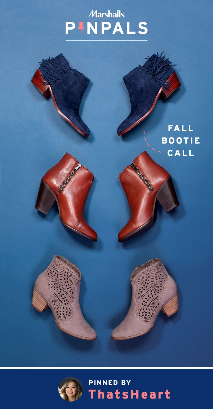 When the weather's too cool for flats but not quite chilly enough for boots, chic fall booties are the ideal in-between. In sleek, solid colors or with playful fringe and trendy cutouts, these three pairs work wonders with anything in your closet. Which is why Heart couldn't wait to add them to her Pin Pals box. Inspired by this pin? Save it and you could be surprised by a Pin Pals box tailored to your style! Now that's a true #MarshallsSurprise. #Contest rules…