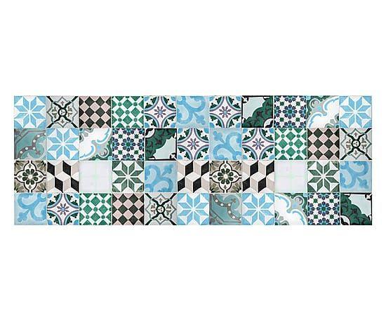 Passatoia cucina in vinile Mosaico Vintage turchese - 66x180 cm - Cucina mattonelle
