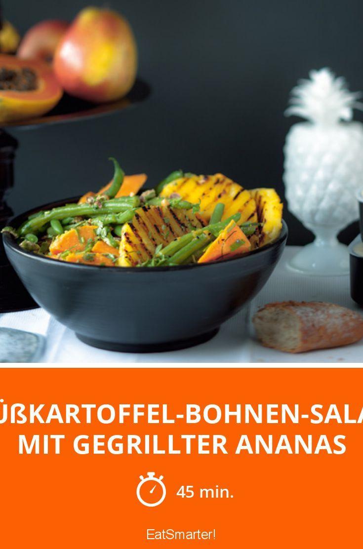Süßkartoffel-Bohnen-Salat mit gegrillter Ananas - smarter - Zeit: 45 Min. | eatsmarter.de